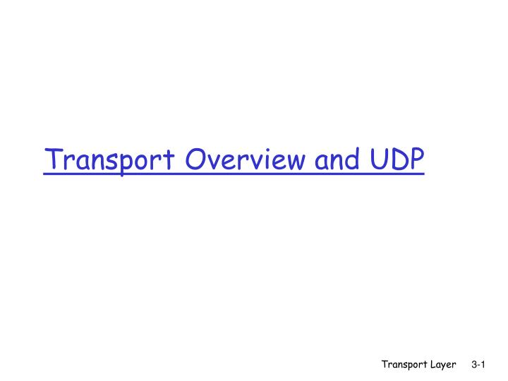 Transport overview and udp
