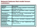 network features that model known customers