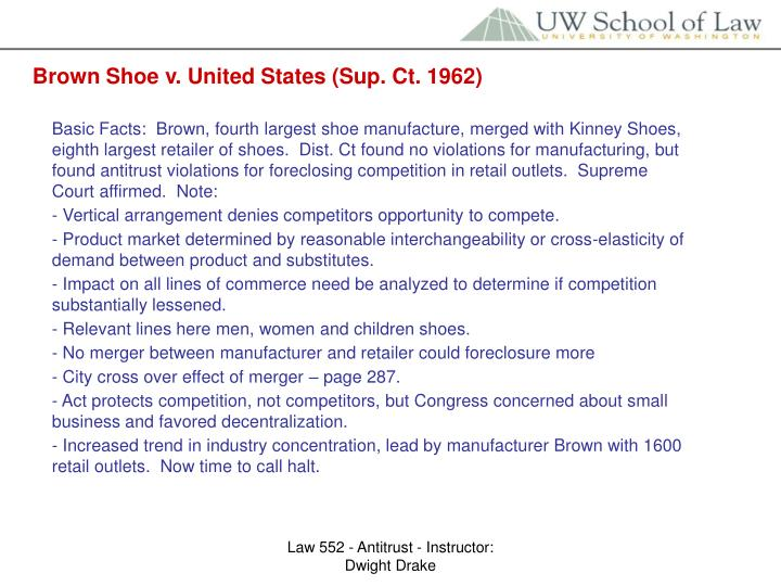 Brown Shoe v. United States (Sup. Ct. 1962)