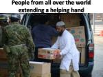 people from all over the world extending a helping hand