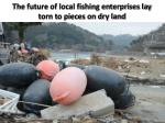 the future of local fishing enterprises lay torn to pieces on dry land