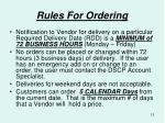 rules for ordering
