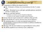 accomplishments cont d