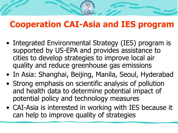 Cooperation CAI-Asia and IES program
