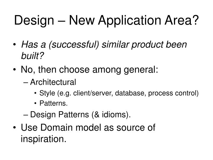 Design – New Application Area?