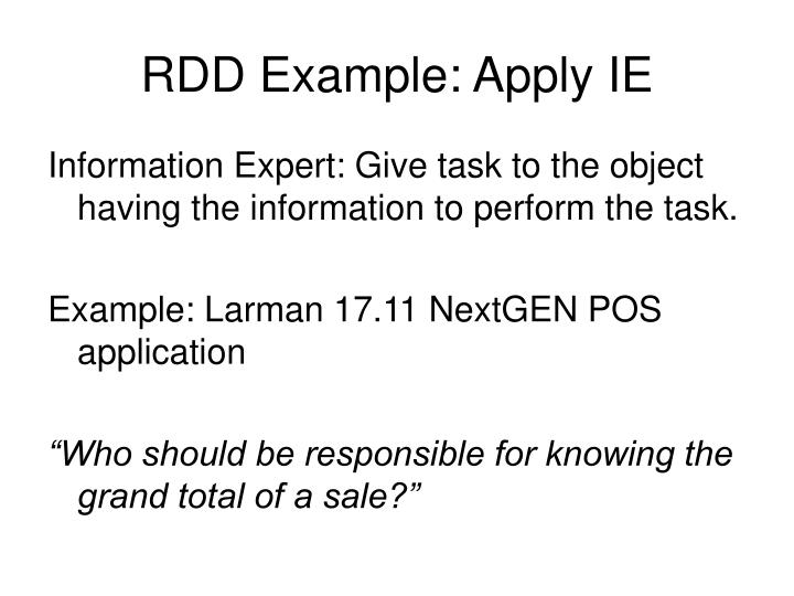 RDD Example: Apply IE