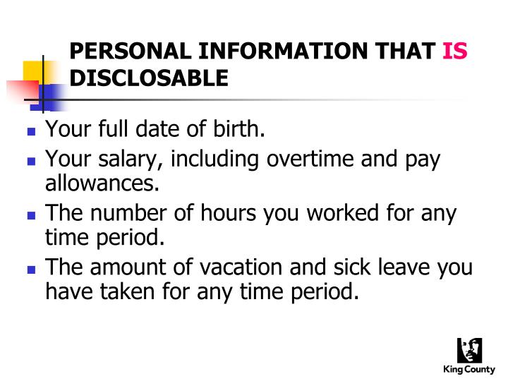 PERSONAL INFORMATION THAT