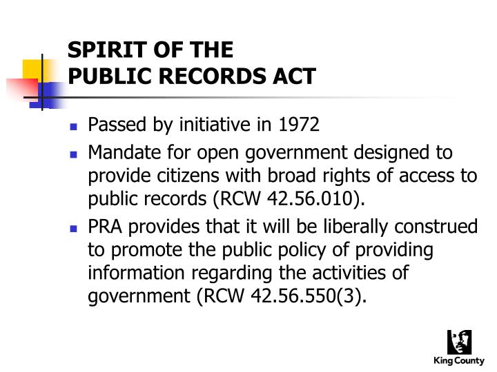 Spirit of the public records act