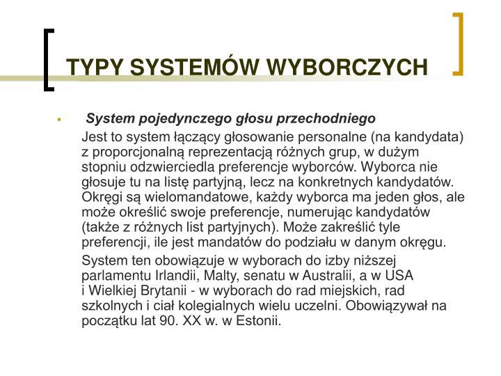 TYPY SYSTEMÓW WYBORCZYCH