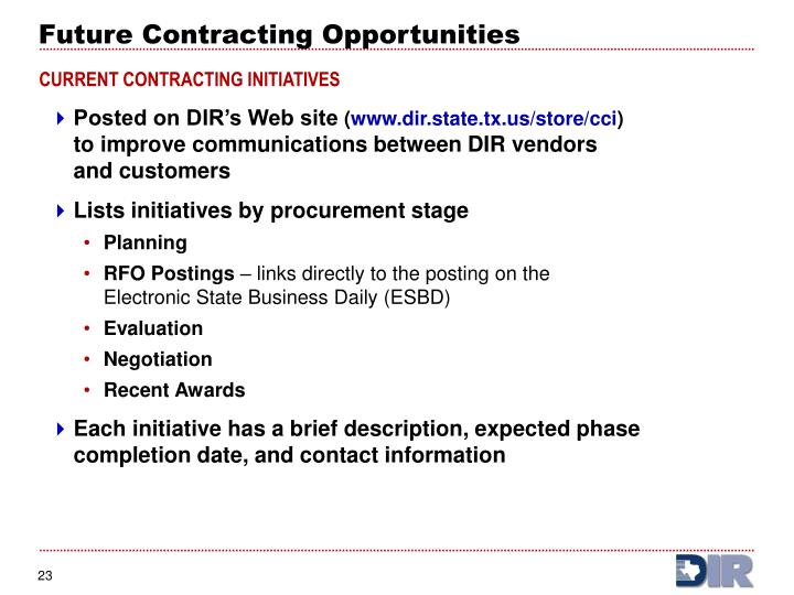 Future Contracting Opportunities