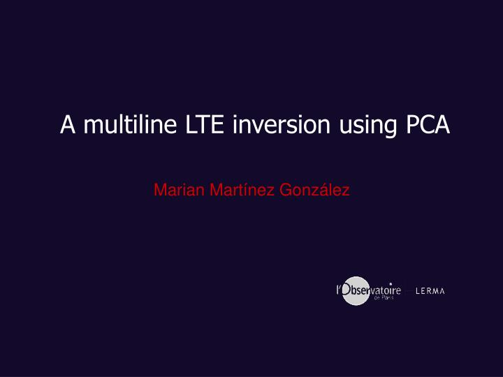 A multiline LTE inversion using PCA