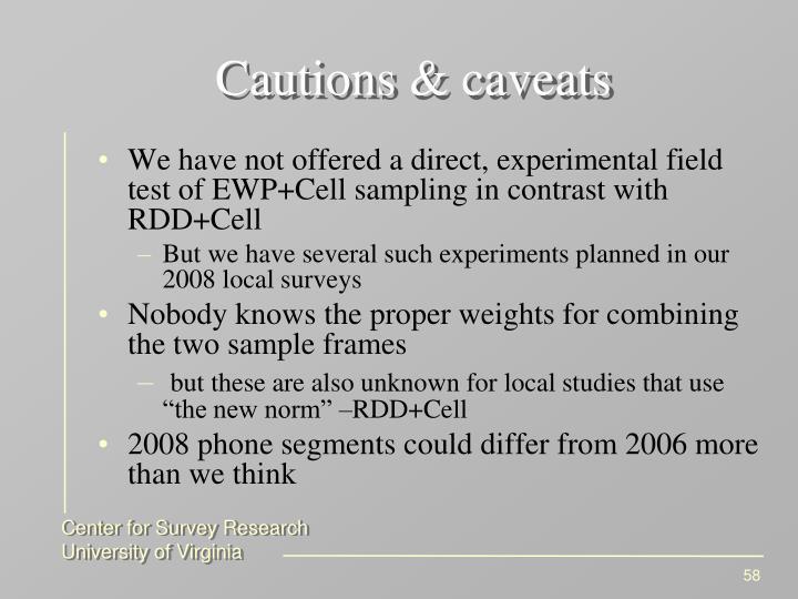Cautions & caveats
