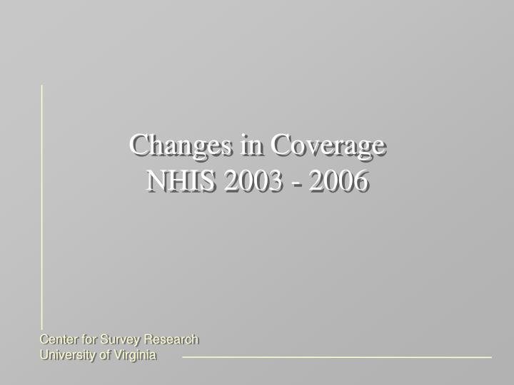Changes in Coverage