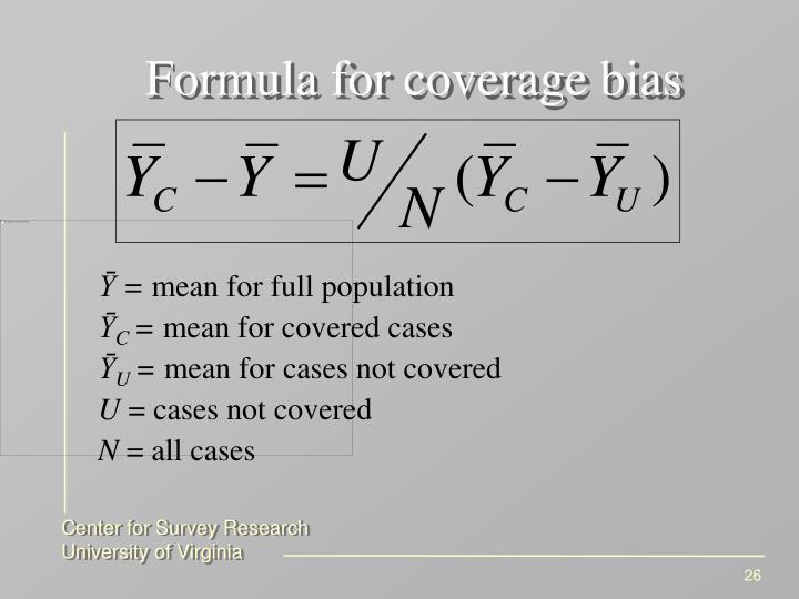 Formula for coverage bias