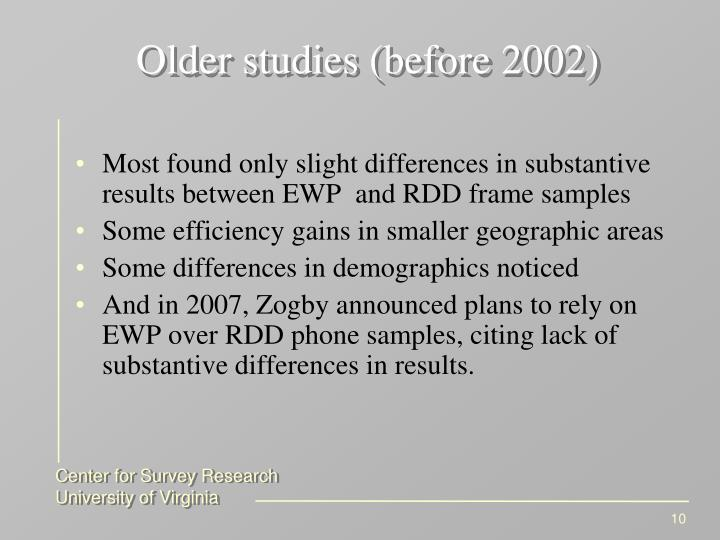 Older studies (before 2002)