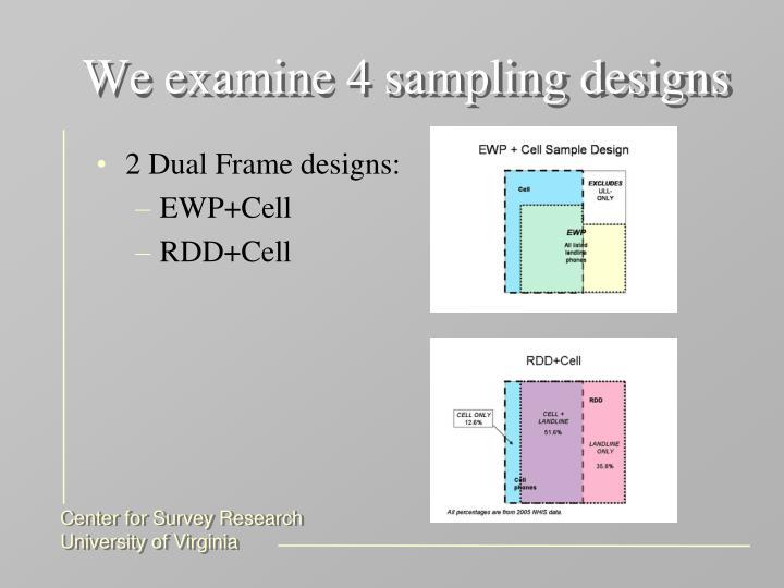 We examine 4 sampling designs
