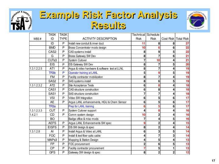 Example Risk Factor Analysis Results