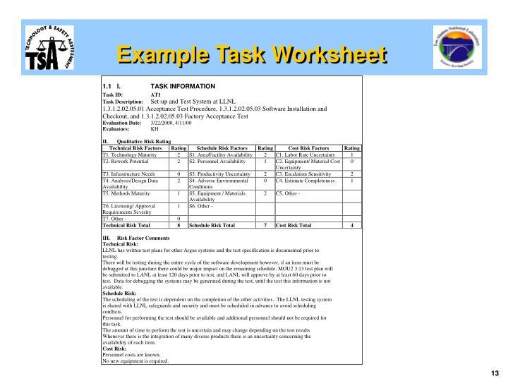 Example Task Worksheet
