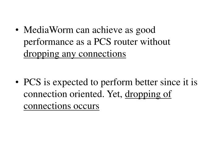 MediaWorm can achieve as good performance as a PCS router without