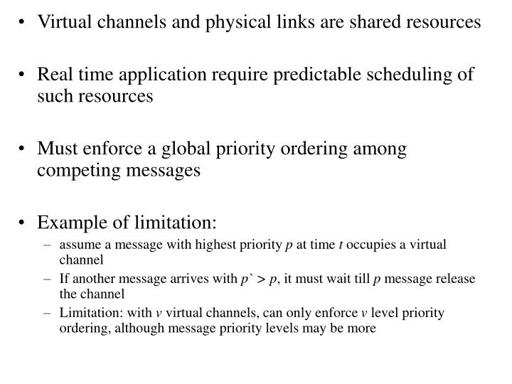 Virtual channels and physical links are shared resources