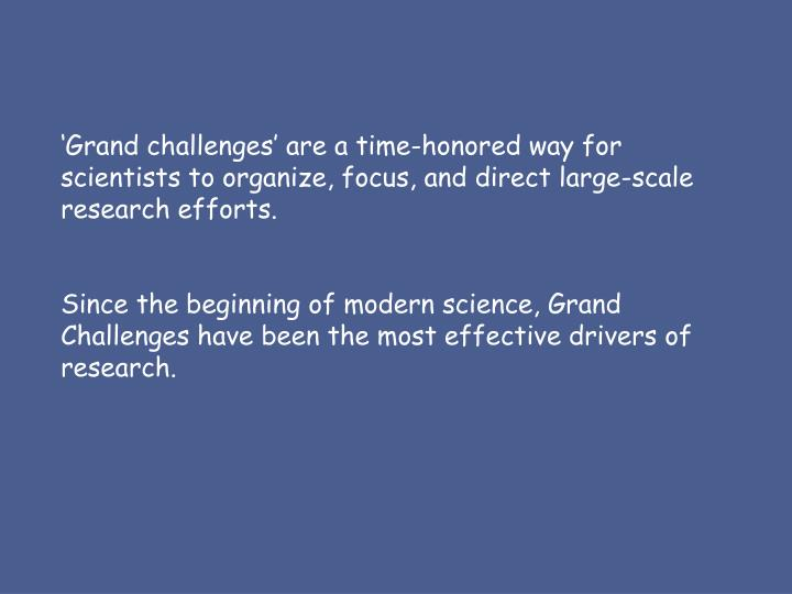 'Grand challenges' are a time-honored way for scientists to organize, focus, and direct large-sc...