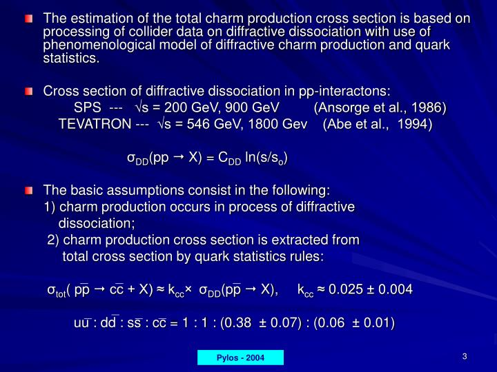 The estimation of the total charm production cross section is based on processing of collider data o...