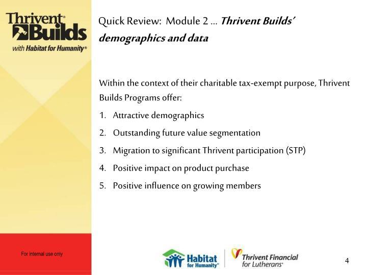 Quick Review:  Module 2 …