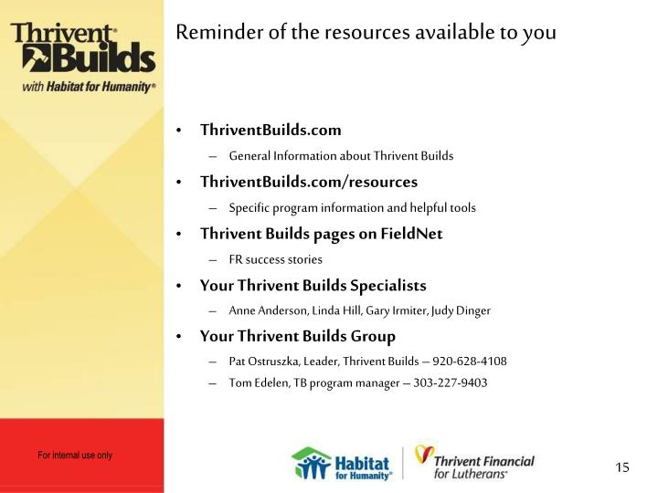 Reminder of the resources available to you