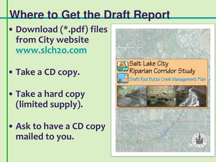 Where to Get the Draft Report