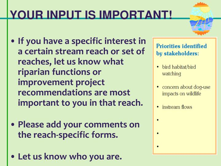 YOUR INPUT IS IMPORTANT!