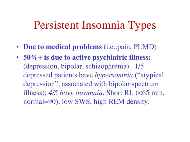 Persistent Insomnia Types