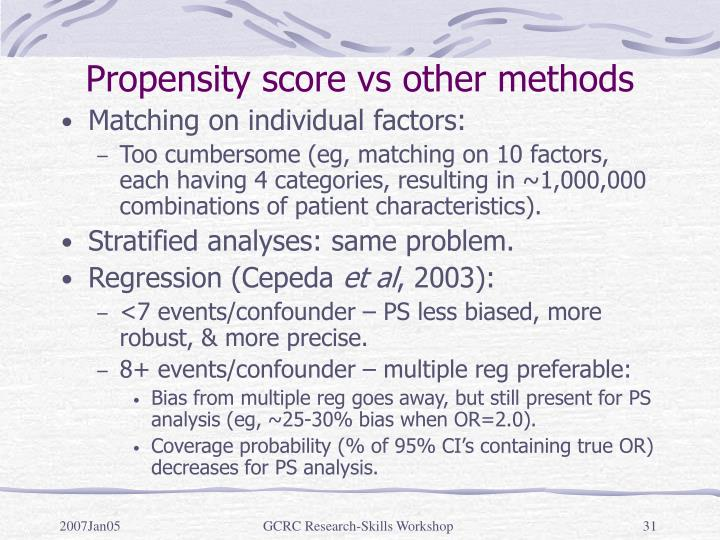 Propensity score vs other methods