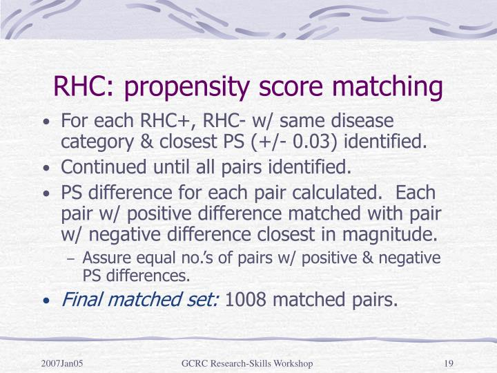 RHC: propensity score matching