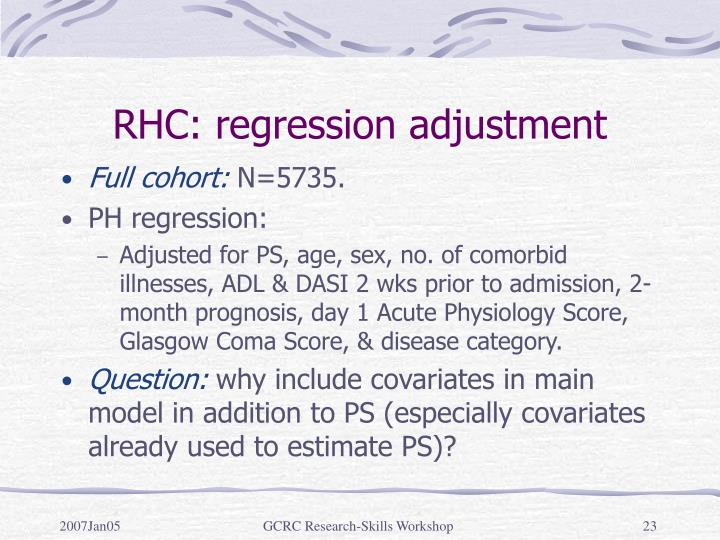 RHC: regression adjustment
