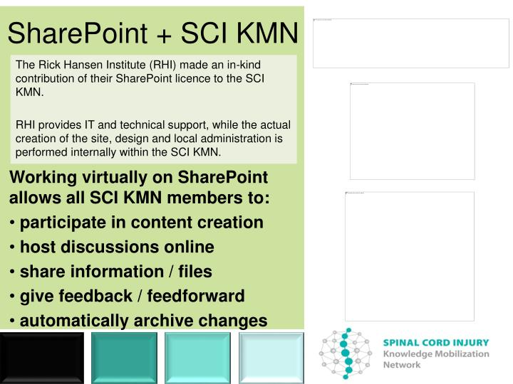 The Rick Hansen Institute (RHI) made an in-kind contribution of their SharePoint licence to the SCI KMN.