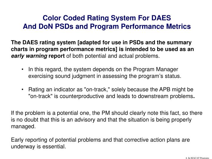 Color Coded Rating System For DAES