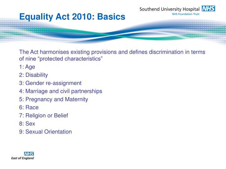 Equality Act 2010: Basics