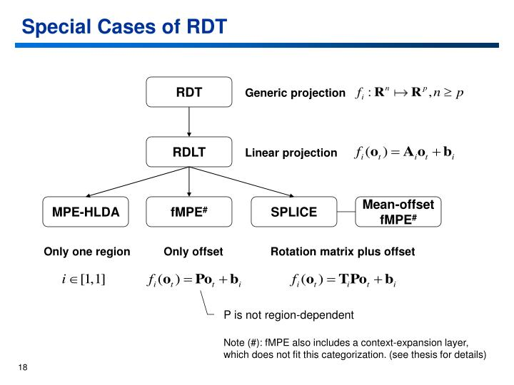 Special Cases of RDT