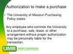 authorization to make a purchase