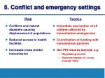 5 conflict and emergency settings