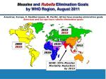 measles and rubella elimination goals by who region august 2011
