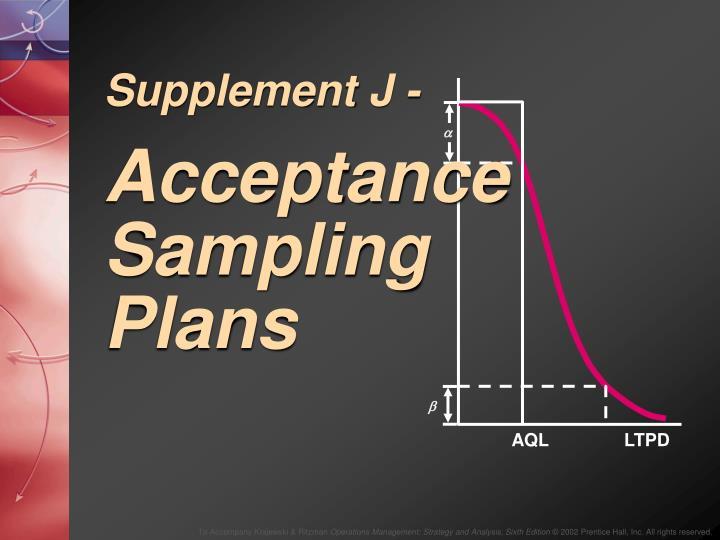 supplement j acceptance sampling plans