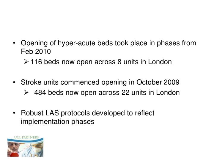 Opening of hyper-acute beds took place in phases from Feb 2010