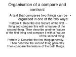 organisation of a compare and contrast