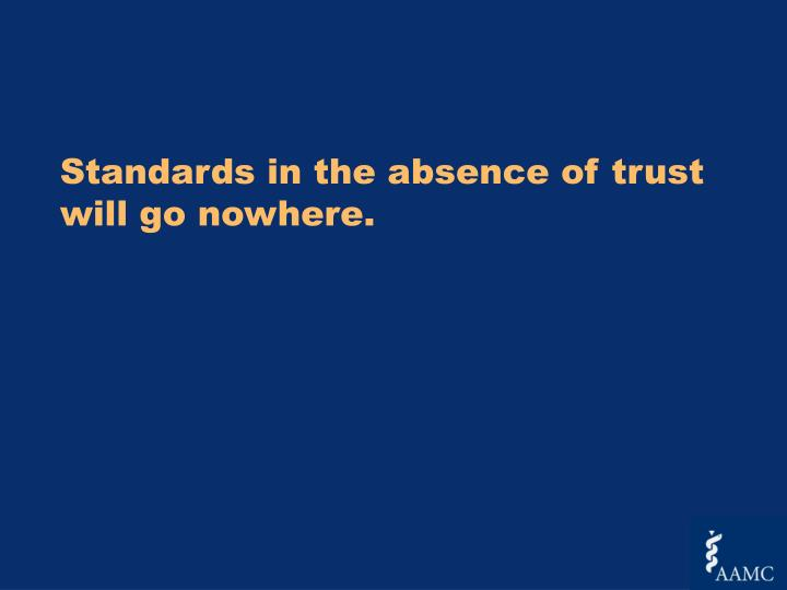 Standards in the absence of trust will go nowhere.