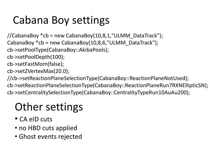 Cabana Boy settings