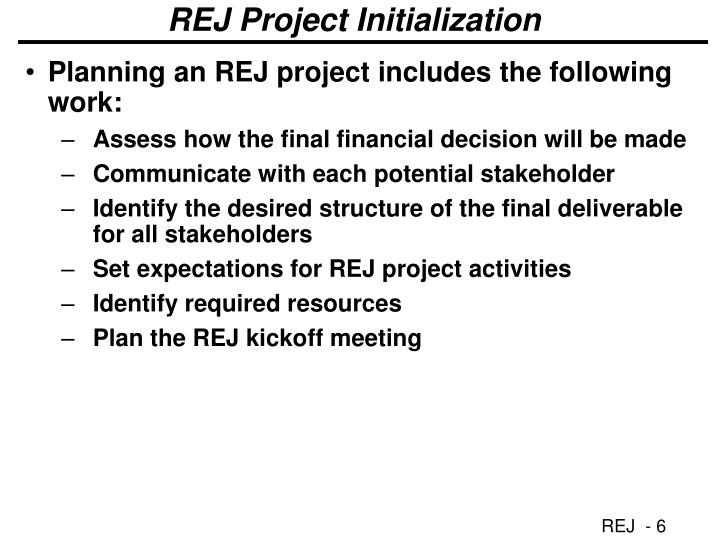 REJ Project Initialization