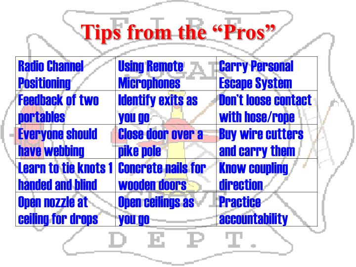 "Tips from the ""Pros"""