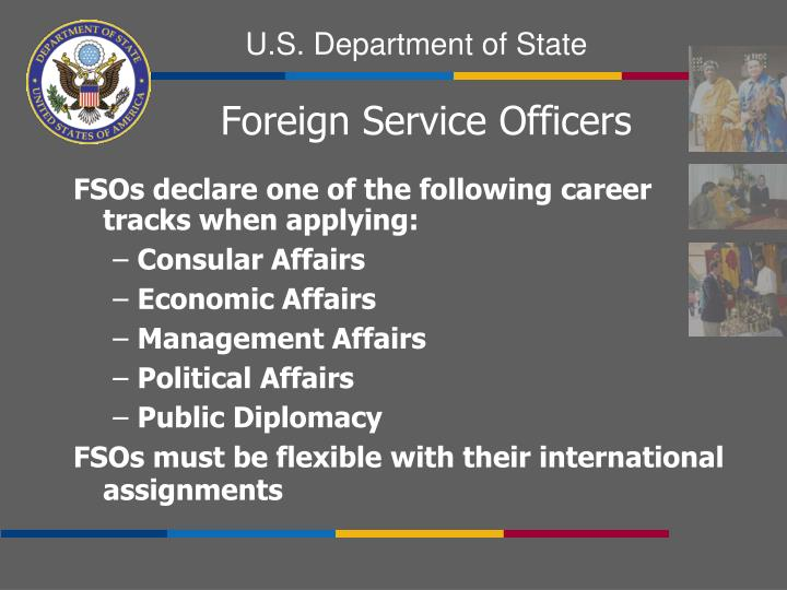 FSOs declare one of the following career tracks when applying: