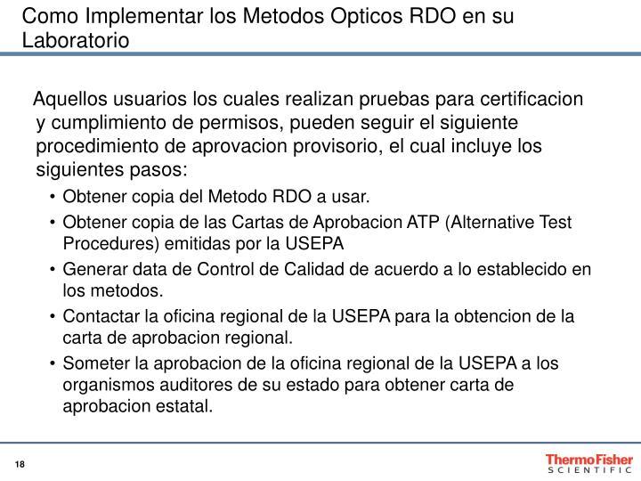 Como Implementar los Metodos Opticos RDO en su Laboratorio